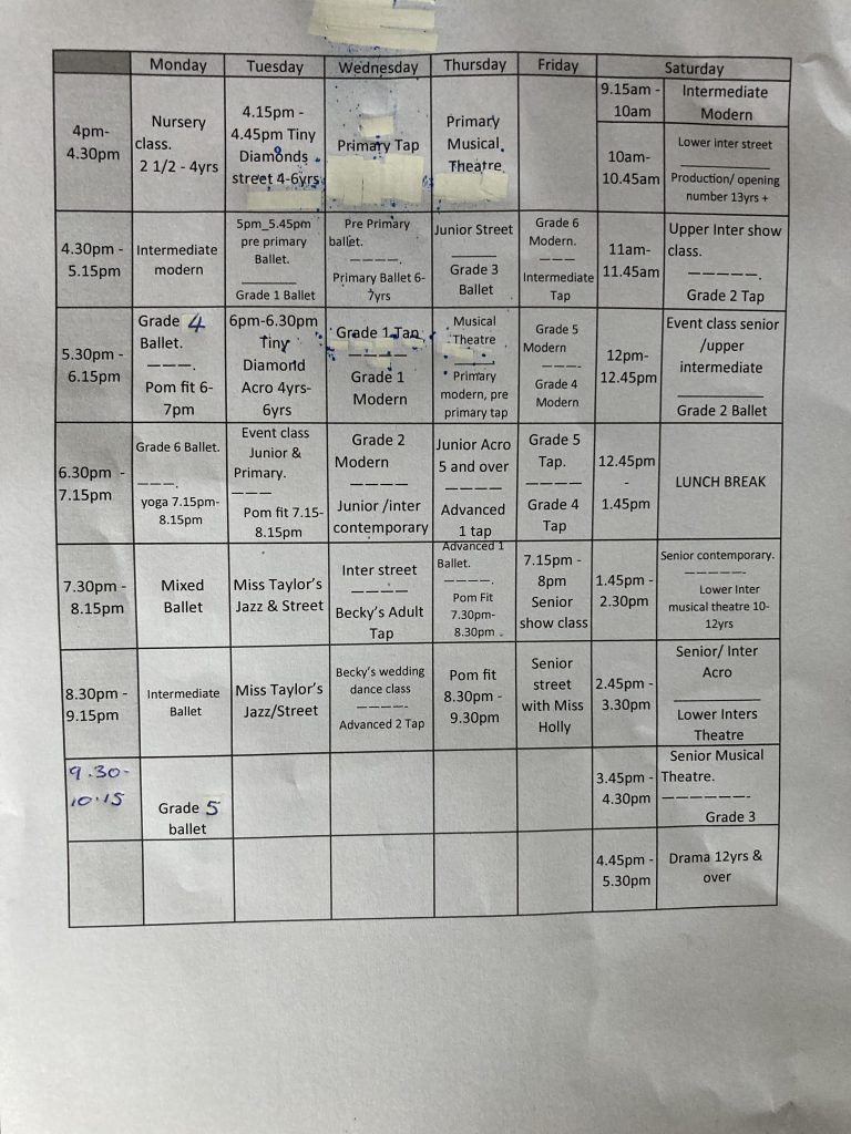 Vanessa School of Dance Timetable
